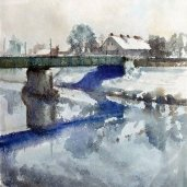 Alfred Freddy Krupa: ''Banijanski most zimi'', akvarel