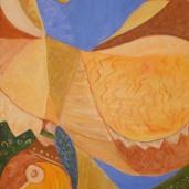 Marija Kruljac, ''Imaginacija gajdaša'', akril na platnu