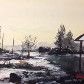 Tihomir Cirkvenčić: ''Dvorište'', akvarel