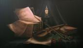 Andreja Dujnić: ''Uz Bachove partiture'', ulje na platnu