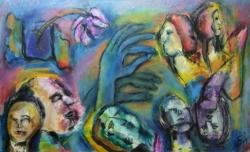 Jela Šare: Dijalog I, kombinirana tehnika, 60 x 100 cm