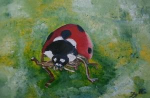 Juraj Jonke, ''Bubamara / Ladybug'', ulje na platnu, 2016.