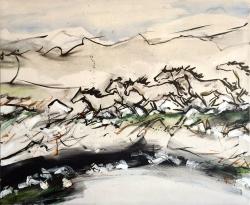 Jelena Martinović, ''Velebitski konji'', kombinirana tehnika na platnu, 120 x 100 cm