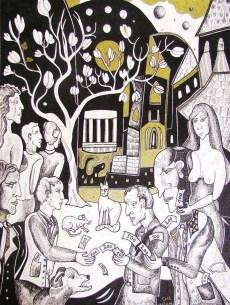 K. Gojanović, ''U sjeni magnolije'', crtež tuš na papiru