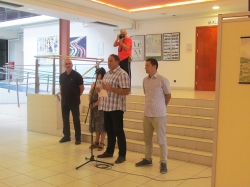 Sa otvorenja ''Zagrebačkog ljetnog likovnog salona 2018'': Željko Šturlić, Krešimira Gojanović, Robert Štimec i Svebor Vidmar