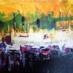 Višnja Peter, ''Noćno more'', akril na platnu, 60x50 cm