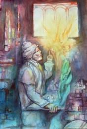 """Stjepan Perković, """"Faust"""", akvarel, 70×50 cm"""
