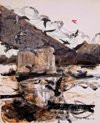 "Alfred Freddy Krupa, ""Slobodna ptica – The free bird"", kombinirana tehnika na kartonu, 73×60 cm"
