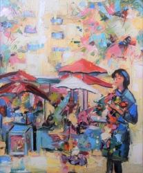 Rada Marković ''Cvijetni trg 80.-ih'', ulje na platnu, 60x50 cm