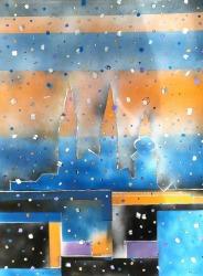 Vedran Bukovina, ''Zagreb u 12.00'', akril na platnu, 70x50 cm