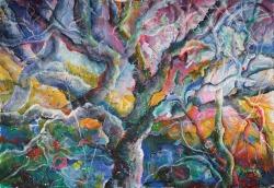 Morana Jugović, ''Drvo života'', akril na ručno rađenom papiru, 110x155 cm