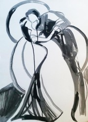 Rada Marković, ''Dvoje'', tuš na papiru, 70x50 cm