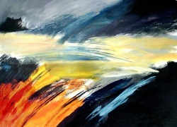Suzana Gajdek, ''The light is coming'', akril na papiru, 50x70 cm